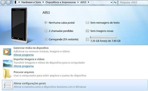 Windows 7 reconhece o Milestone 2 automaticamente
