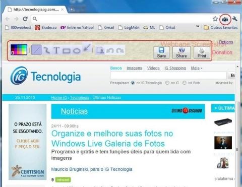 Webpage Screenshot: barra superior traz atalhos para tratar imagens