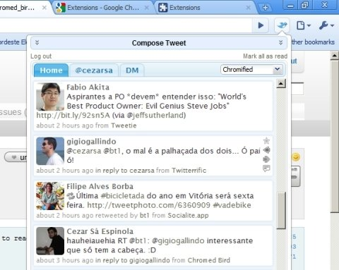 Chromed Bird: Twitter vai para o Chrome