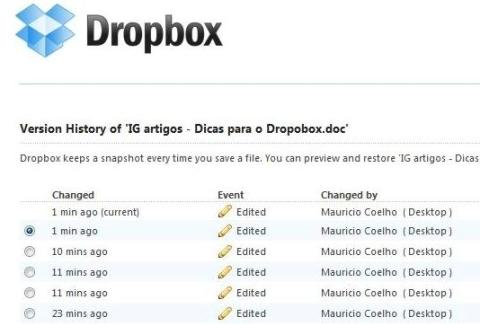 Recursos do Dropbox