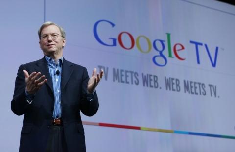 Eric Schmidt, CEO do Google, no lançamento do Google TV