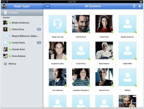 Skype para iPad: versão otimizada para a tela do tablet