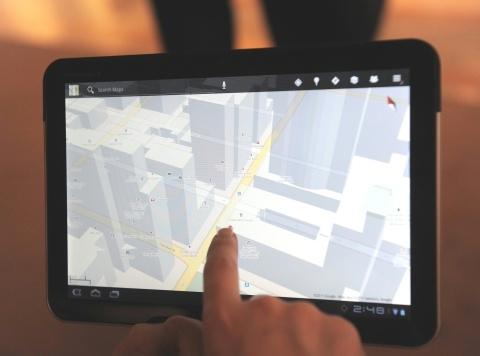 Mapas no Xoom: prédios em 3D